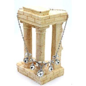 Elegant sparkling silver white crystal necklace